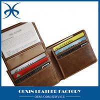 Anti RFID function handmade luxury handmade leather purses pouch for car, men leather rfid wallet guangzhou manufacturer