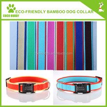 2015 hot sale bamboo dog / cat collar & leash bamboo products for cats / dog 9 colors 4 sizes