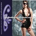 venta al por mayor ml17792 servidumbre nighty vestido negro sexy catsuit de cuero