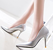 d60349h 2015 Korean women Sexy pointed patent leather stiletto high heel shoes