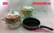 cookware ceramic fry pan/ 3 Pieces cookware Pans/ Ceramic deep Pan with colorful body and induction.