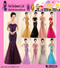 Fashion Europe Style Colorful Strapless Dress Long Design Hot Sexy Mermaid Evening Dress