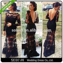 See Through Black tea length mother of the bride jacket dress From China