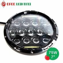 "New 7"" led headlight high low beam, 75W round 7'' led headlight"