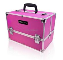 Cosmetics Premium Collection Aluminum Makeup Train Case, Pink