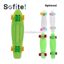 Colorful top quality outdoor cheap transparent penny skateboard