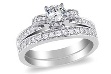 Princess Cut CZ 2 Sided Engagement Wedding Ring Set 925 Silver