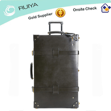 Vintage pu leather luggage suitcase with Wheels Trolley Luggage Travel Case Retro in Black / Brown-HB-074