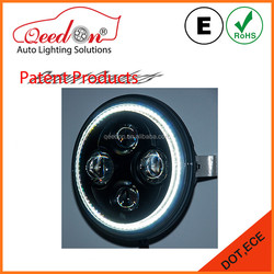 Qeedon new design 7'' black and chrome bezel with high low beam headlight for honda motorcycle parts