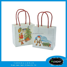 2015 Promotional OEM Customised Shopping Paper Bag,Christmas And Party Favor White Kraft Paper Gift Bag