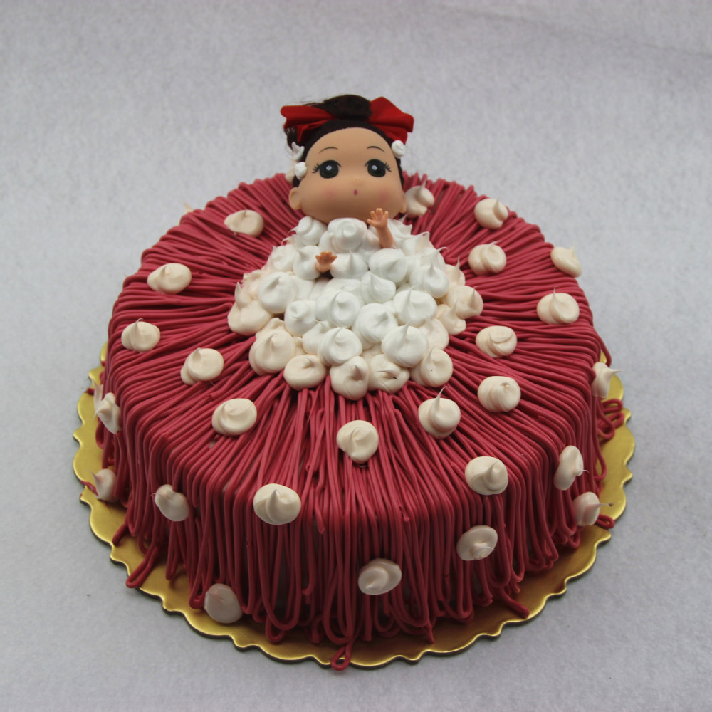 Artificial Birthday Cake Model With Cartoon Doll Fruit For Shop