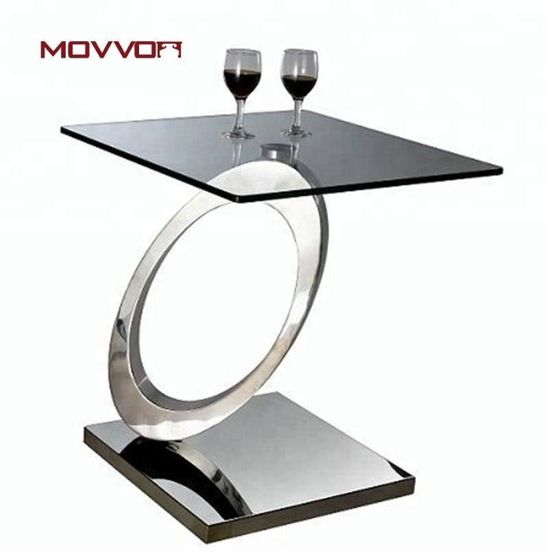 Hot sale direct factory square stainless steel and tempered glass top 12mm sofa/side/end table