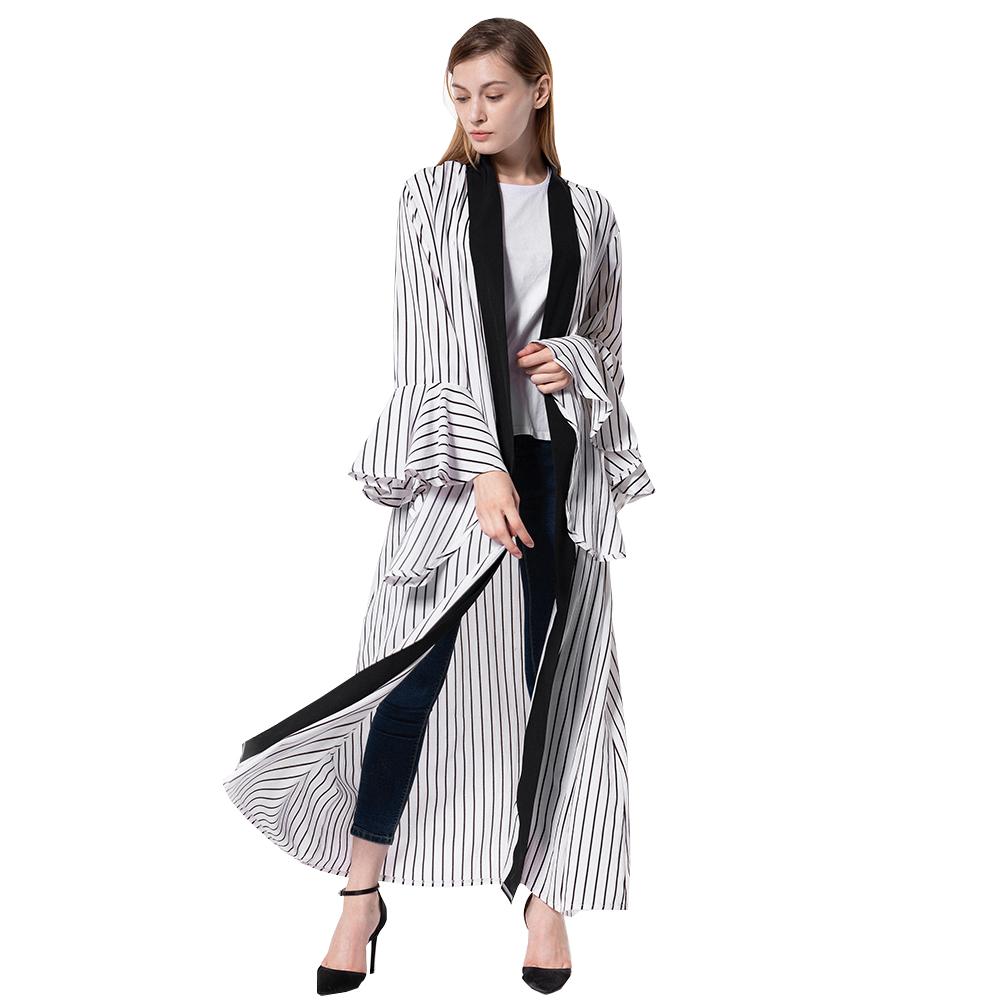 Las mujeres de blanco y negro a rayas largo de gasa blusa Top Maxi desgaste Cardigan Kimono