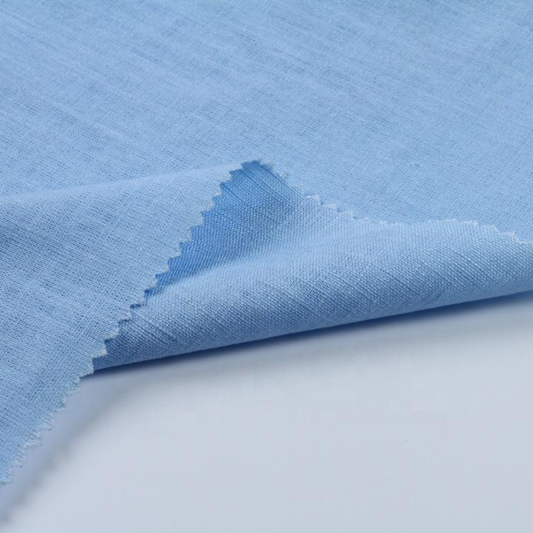 Azul cielo teñido suave transpirable rayón viscoso Corea puro lino tejido flameado de ASOS