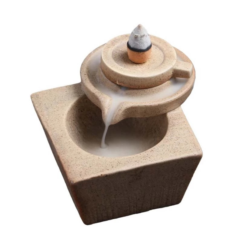 Ücretsiz örnek hiçbir MOQ duman geri akış tütsü brülör tutucu şelale seramik buhurdan yaratıcı şanslı taş değirmeni tütsü brülör