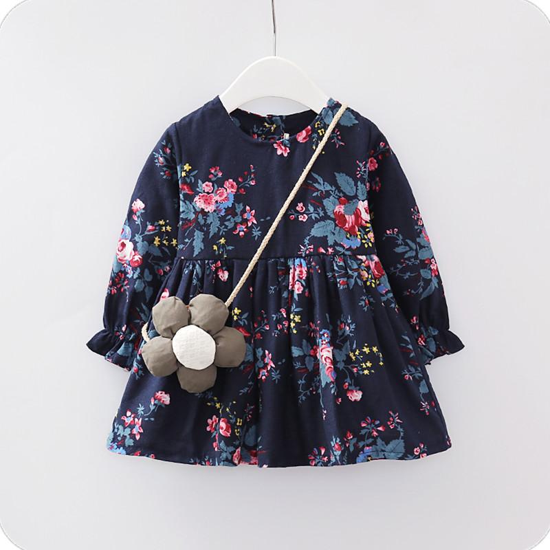 2019 marinha flor maca meninas vestido popular vestido da menina de verão