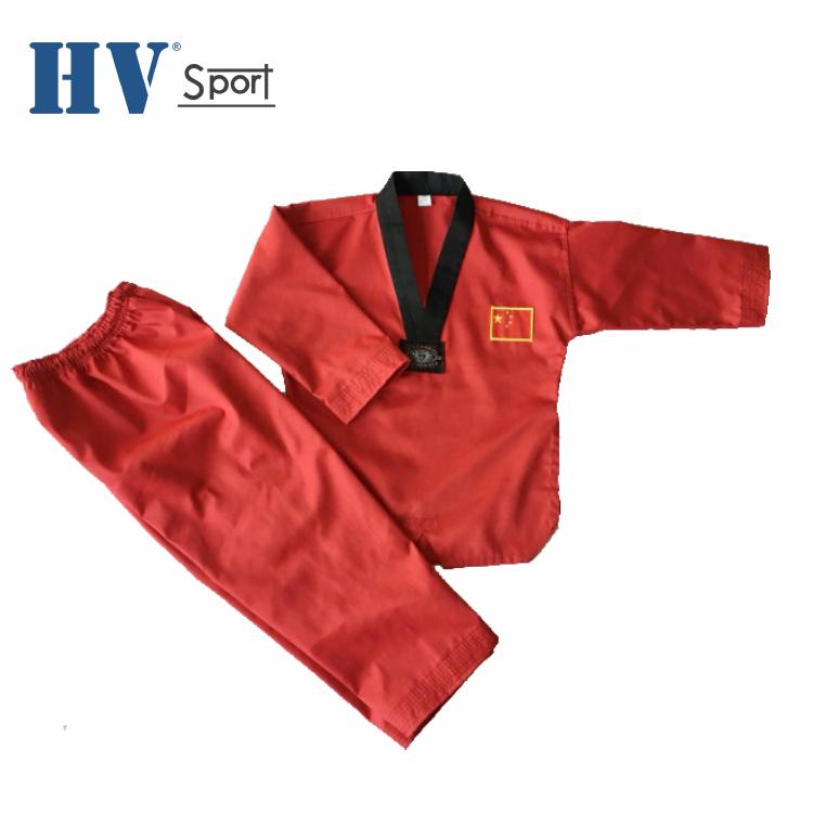 Polyester rouge taekwondo uniforme en gros costume de taekwondo