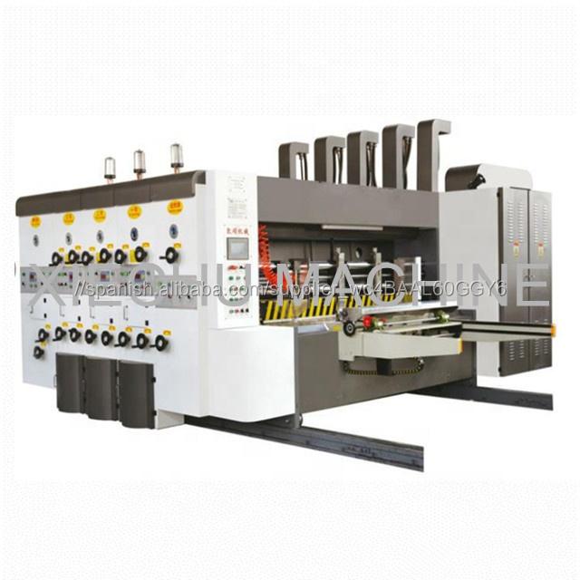 cartón corrugado caja de cartón de tinta flexográfica de 4 colores ranuradora de impresión, el precio de la máquina