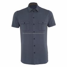 Top Quality Twin Pockets Men Short Sleeve Formal Shirt