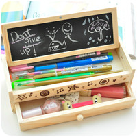 Best Price Multifunctional School Pencil Coin Pen Cases Vintage Wooden Boxes Stationery Bag Brand New Durable Fit For Student