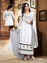Designer party wear heavy pure viscose & embroidery white straight long cut salwar kameez with fancy dupatta