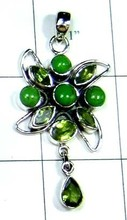 Latest Fashionable India Green Turquoise, Peridot 925 Silver Pendant From India-ss4p451