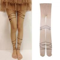 New Fashion Chic Trend Ribbon Pattern Tattoo Sock Transparent Pantyhose Stocking #42593