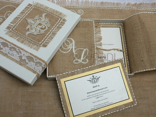 Burlap wedding invitation card with mailing box view for Wedding invitation mailing boxes