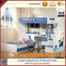 Modern design kids bunk bed/up-down kids bed with stair, desk