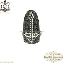 Black Diamond Pave Religious Cross Silver Nail Ring, 925 Sterling Silver Diamond Pave Designer Nail Ring Jewelry Supplier