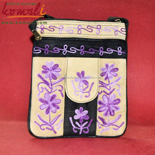 Purple Floral Design Sling Bag With Mobile Cover - Suede Leather Hand Indian Embroidered Fashion Sling Bag - Neon Colors