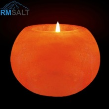Himalayan Ball Shaped Salt Candle Holder / Tea Light Holder + Wax
