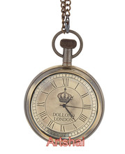 Beautiful Antique vintage look Dollond London Design Pocket watch with chain. Brass made 2 inch diameter