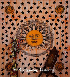 Celestial Sun, Moon Stars Planet Tapestry, Indian Hippie Wall Hanging Twin Size