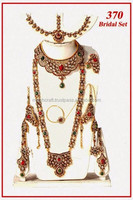 Arabic polki bridal jewelry set with necklace & Mang tika-Online wholesale Rhine stone bridal jewelry-Dulhan sets