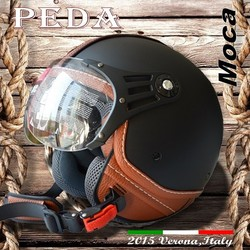 (Moca) 2015 NEW ECE DOT casco Italy design motorcycle helmet Unisex open face vintage leather style (PEDA MOTOR)