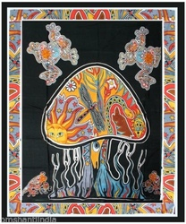 Psychedelic Mushroom Tapestry bedspread indian wall hanging ethnic hippy multi boho bohemian student dorm hippy