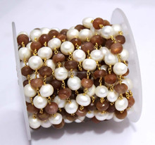 Freshwater Large Pearl & Sunstone Roundel Faceted Beaded Gold Plated 925 Sterling Silver Chain
