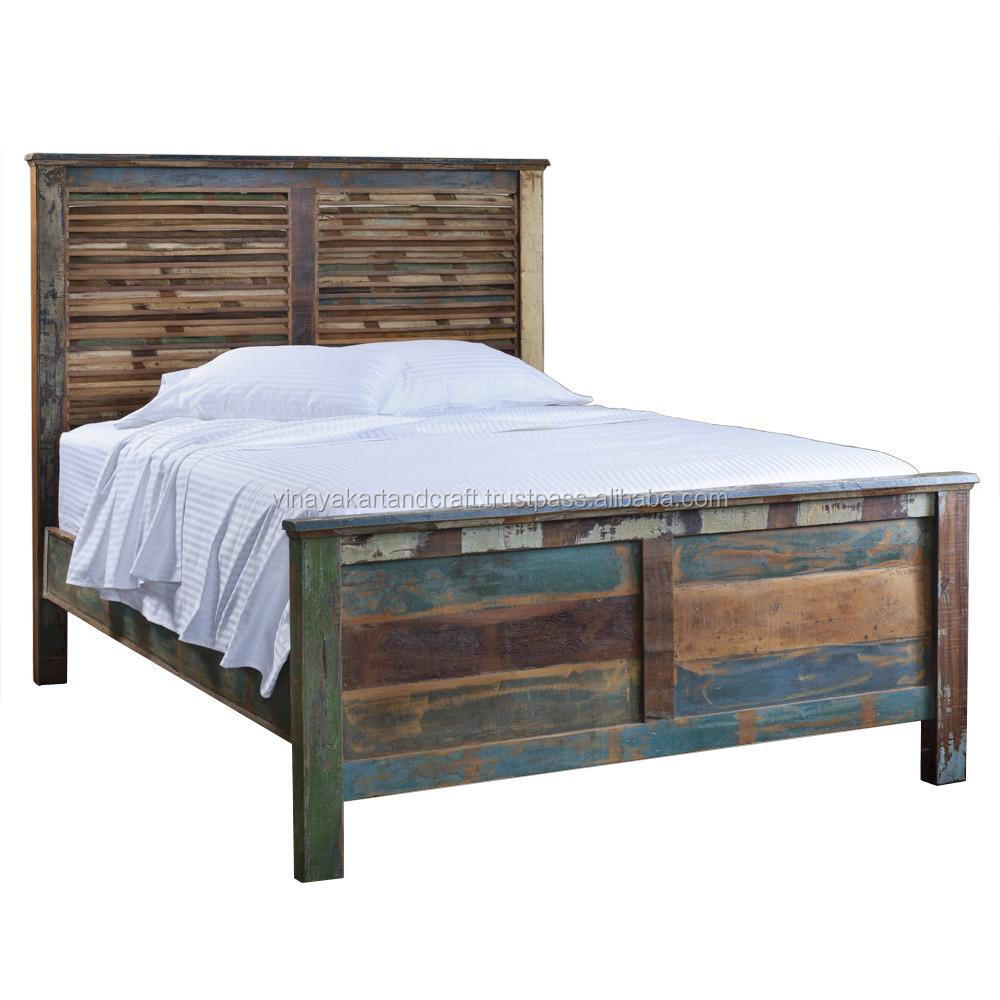Royal classic king size bed reclaimed wood antique bed Wooden bed furniture