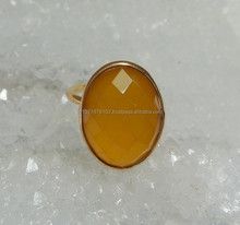Jewelry hot sale 2015 !! Amezing Charm Jewelry collection Yellow Chalcedony Gemstone ring