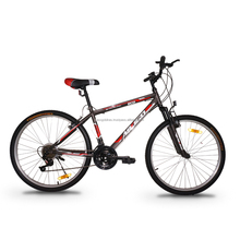 """ASOGO 26"""" MTB Bike Mountain Bicycle 18 Speed Matte Brown with Red"""