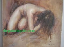 lady sexy naked woman nude body painting canvas oil painting back
