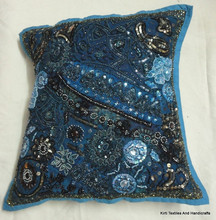 RTHCC-503 Tourquise Color Antique Look Designer Cushion Cover Vintage Look Pillow Case Cover Jaipur