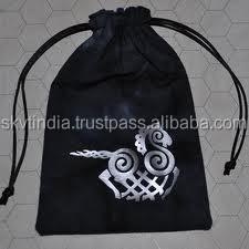 custom logo design printed drawstring pouch
