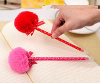 Plastic Ballpoint Pen with Plush & Ribbon mixed colors 220mm 120PCs/Lot Sold By Lot