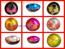 Colorful coconut material lacquer vietnam special art and unique color round coconut bowl with good price and good quality