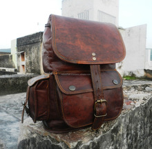 rustic brown leather vintage travel/picnic/overnight back pack bag