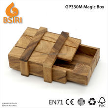 Retro Handmade Wooden Magic Box Puzzle Brain Teaser Toys