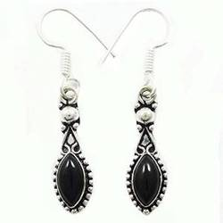 Onyx Stone 925 Silver Plated Dangler Earring Set Fashion Jewellery Made In India Gift For HerSE5675