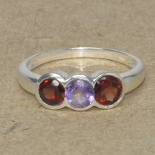 girls silver rings, 925 sterling silver Garnet, Amethyst Stone Ring SER2493
